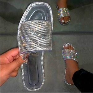 Shoes - Clear Jelly Rhinestone Band Slip On Sandal